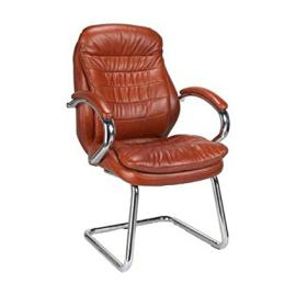 Leather Faced Cantilever Chrome Framed Visitors Armchair TAN