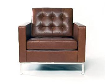 Florence Knoll Armchair in Brown full aniline Italian leather