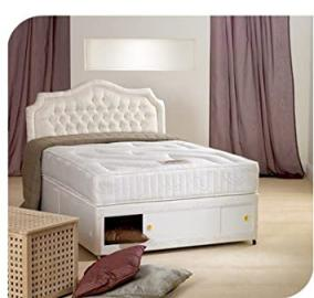 "4ft small double storage divan, includes 10"" thick open coil sprung memory foam mattress and storage drawer"