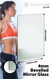 2 Large Frameless Bevelled Mirror Glass Safety Backed 6Ft X 4Ft, 183cm X 122cm