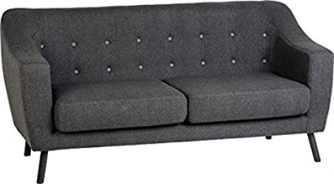 Seconique Ashley 3 Seater Sofa, Fabric, Dark Grey Fabric