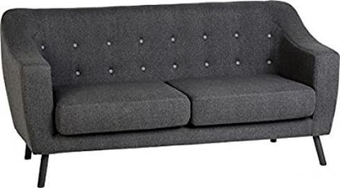 Seconique Ashley 3 Seater Sofa, Fabric, Dark Grey Fabric