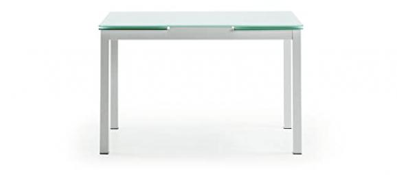 The form-Alyona Alyona Extendible Table with White Lacquered Glass Worktop Saver