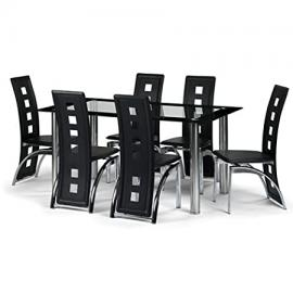 Brescia Dining Table and 6 Chairs Set - Glass Dining Table and 6 Black Striking Chairs