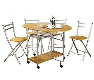 Extendable 5 Piece Dining Set - Set Includes Folding Table And 4 Chairs - Complement Homes With Contemporary Interiors - Space Saving