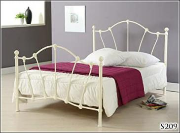 BRAND NEW 5ft IVORY METAL KING SIZE BED FRAME BEDSTEAD AND SLUMBER SLEEP ORTHOPAEDIC ORTHO MATTRESS