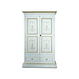 Wardrobe 2Doors White Lacquered Solid Wood Thread Ochre