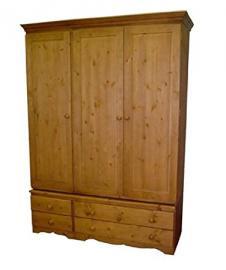 Wye Pine Bespoke Large Triple Wardrobe - Finish: Wax - Stain: Waterbased