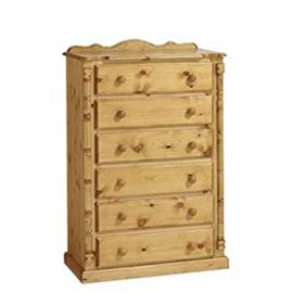 Ideal Furniture 6 Drawer Chest, Wood, Antique Pine