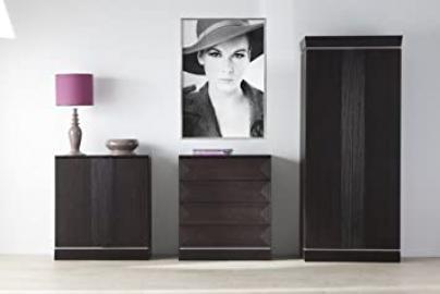 Classic 2 Door Wardrobe, 87.5 x 55 x 202 cm, Dark Oak