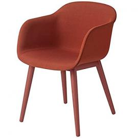 Muuto Fiber Armchair Wood Base - Textile Shell - Dusty Red