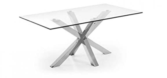 The Form-ARYA Table 180 X 100 C07 Stainless Steel Clear Glass