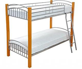 Barcelona Single 3FT Wood & Metal Bunk Bed Frame in Beech with 2 Economy Spring Mattresses