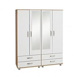 Ideal Furniture Regal 4 Door Wardrobe Plus 4 Drawers and 2 Mirrors with Gloss, Cream