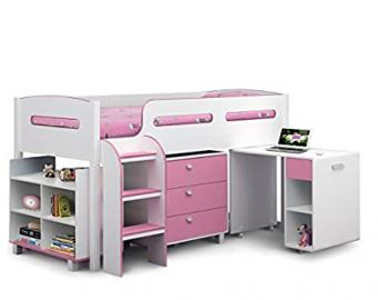 Modern Pink Cabin Bed - Comes In An Appealing White And Sky Blue Finish - The Perfect Place For Your Child To Sleep - Girls