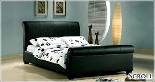 NEW 6ft BLACK FAUX LEATHER SLEIGH SUPER KINGSIZE SCROLL BED AND SLUMBER SLEEP MEMORY FOAM MATTRESS