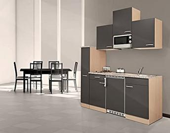 Respekta KB180BGMIC Kitchen Unit 180 cm with Microwave and Glass-Ceramic Hob Beech / Grey