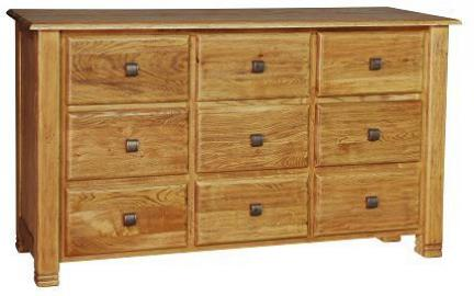 Tiger Wood Low Boy Chest 9 Drawer Oak