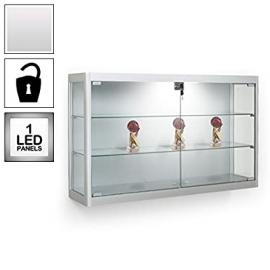 Silver Wall Mounted Glass Display Cabinet - 1 LED Light