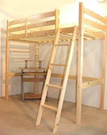 Loft Bunk Bed with desk - 3ft single wooden high sleeper bunkbed - Ladder can go left or right - CAN BE USED BY ADULTS