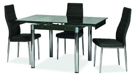 Essgruppe–Design Dining Table with Glass Top, Extending to 131cm, with Floral black