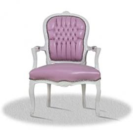 baroque armchair carved white with rose skai fabric