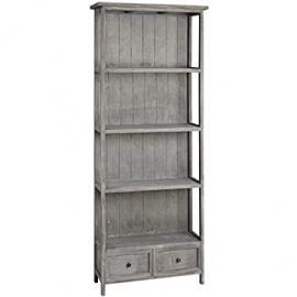SHABBY CHIC ANTIQUE STYLE DISTRESSED GREY 4 SHELF 2 DRAWER STORAGE CABINET BOOKCASE DISPLAY UNIT - POT AND SHED RANGE (H4641) ** FULL RANGE OF MATCHING FURNITURE IS AVAILABLE **