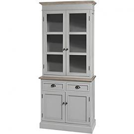 ASH GREY GLAZED DRESSER DISPLAY CABINET KITCHEN SIDEBOARD WINSTON RANGE (H17417) ** FULL RANGE OF MATCHING FURNITURE IS AVAILABLE **