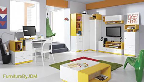 Classic Teenager/Kids Furniture Set Composition MOBI System D. Corner Wardrobe, TV Table, Wall-mounted Shelves, Free Standing Display Units, Desk and Coffee Table.