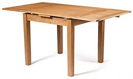 Waverly Oak Small Extending Dining Table in Light Oak Finish | Solid Wooden Extendable Rectangular Dinner Table