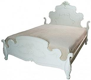 ANTIQUE FRENCH WHITE KINGSIZE BED BEDROOM LILY RANGE (PLS056) ** FULL RANGE OF MATCHING FURNITURE IS AVAILABLE