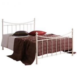 Victorian Style 4ft Small Double Ivory White Metal Bed Frame and Imperial Pocket Sprung Memory Foam Mattress