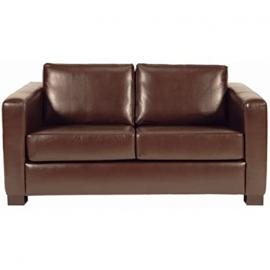 Faux Leather 2 Seater Sofa Colour: Dark Brown.