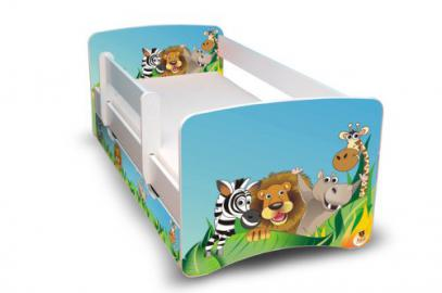 Best For Kids CHILDREN BED 80x160 with protection + DRAWER 34 Designs (Zoo)
