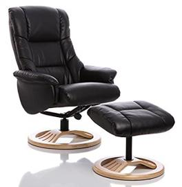 The Mandalay - Bonded Leather Recliner Swivel Chair & Matching Footstool in Black (Round Base Upgrade)