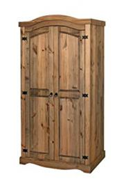 Corona Mexican Style Waxed Pine 2 Door Wardrobe All Hanging Robe 980w x 562d x 1882h mm CR520