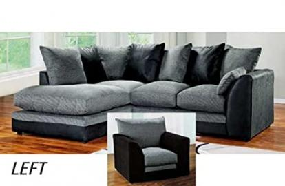 Dylan Byron Corner Sofa Black & Charcoal Right or Left with Matching Armchair (Black Left and Matching Armchair)
