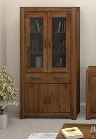 Grand walnut wood furniture large tall wide bookcase bookshelf closed glazed
