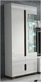 Lorenz High Gloss White Display Cabinet 1 Glass Door (P9RXLS 22) by furniturefactor