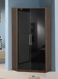 Milano Black Gloss and Walnut 2 Door Corner Wardrobe