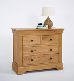 Calais Solid Oak Bedroom Furniture 2 Over 2 Chest of Drawers