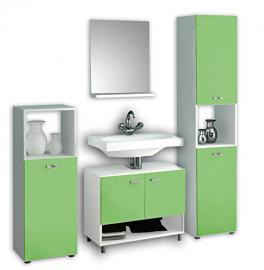 "VCM 4-Piece ""Pandol"" Complete Bathroom Furniture Set, White/Green"
