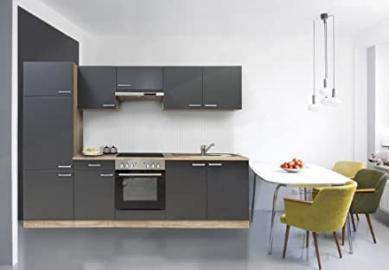 Respekta Kitchen Unit Built-In Kitchen Island 270cm Beechwood/Grey Stainless Steel Ceramic Bgec