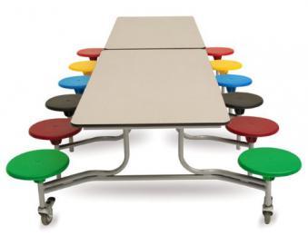 Rectangular Mobile Folding Table Dining Canteen Unit 12 Seat 3080x735x1500 Grey Top