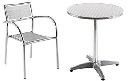 4 Plaza Mesh Chairs and FREE Table, Aluminium Table and Chairs for the Garden or Cafe