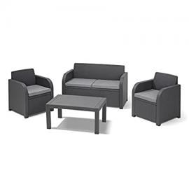 Allibert Montpellier 4 Piece Graphite Grey Outdoor Garden Conservatory Furniture Set