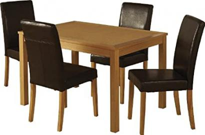 Seconique Oakmere Dining Set with 4 G3 Brown Chairs - Natural Oak Veneer/Brown Faux Leather