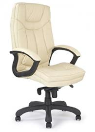 Eliza Tinsley 608KTAG/LCM High Back Leather Faced Executive Armchair with Contrasting Stitching - Cream