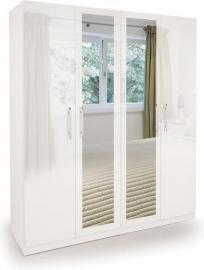 Angel 4-Door Mirror Wardrobe, Wood, High Gloss White