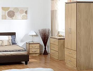 Charles Bedroom Set (2 Door) in Oak Effect Veneer with Walnut Trim